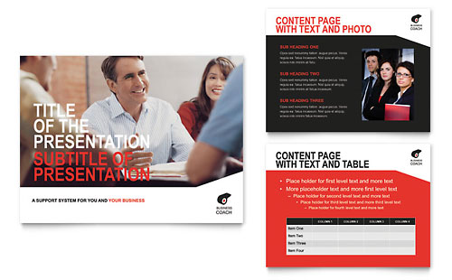 Business Executive Coach PowerPoint Presentation Template Design