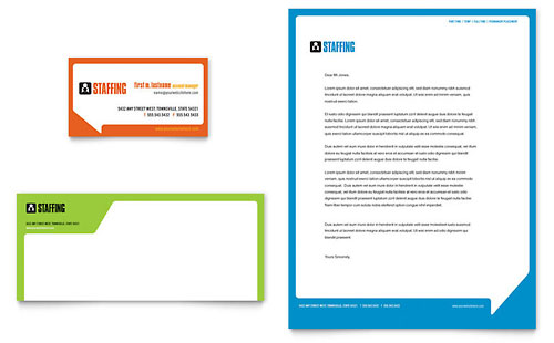 Staffing & Recruitment Agency Business Card & Letterhead - Microsoft Office Template
