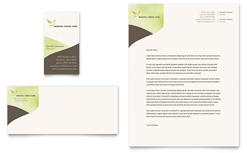 Memorial & Funeral Program Business Card & Letterhead - Microsoft Office Template