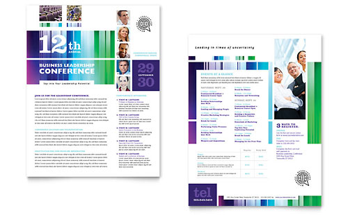 Business Leadership Conference Datasheet Template - Microsoft Office