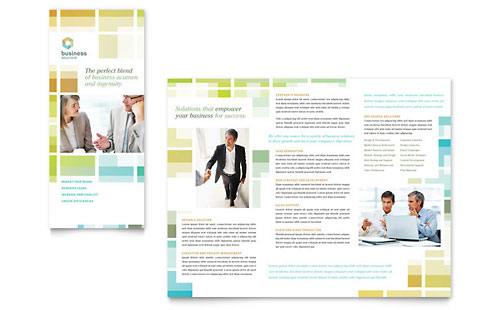 Business solutions consultant tri fold brochure template for Microsoft works templates brochure