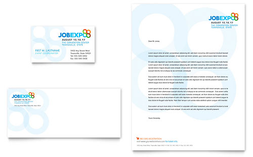 Job Expo & Career Fair Business Card & Letterhead Template - Microsoft Office