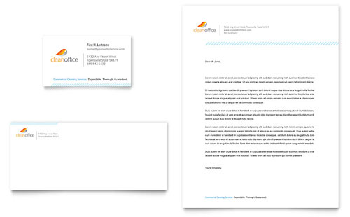 Janitorial & Office Cleaning Business Card & Letterhead Template - Microsoft Office