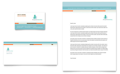 Management Consulting Business Card & Letterhead Template - Microsoft Office