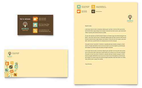 Business Services Business Card & Letterhead - Microsoft Office Template