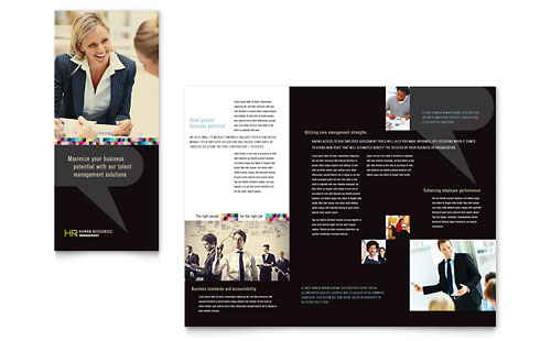 Human Resource Management Tri Fold Brochure Template Design