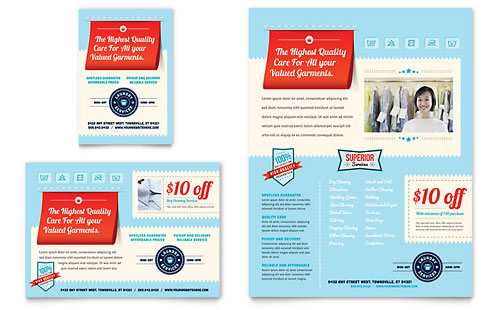 Laundry Services Flyer & Ad Template - Microsoft Office