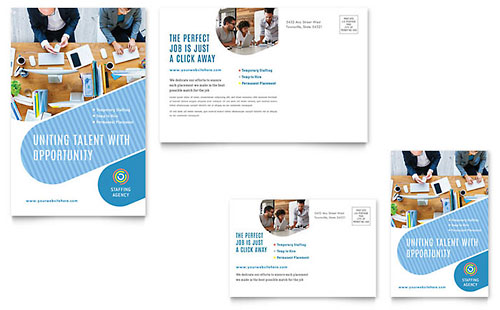 Employment Agency Postcard Template - Microsoft Office