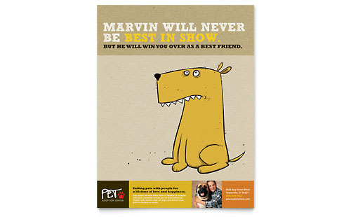 animal shelter  u0026 pet adoption poster template