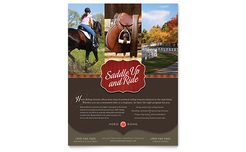 Horse Riding Stables & Camp Flyer Template - Microsoft Office
