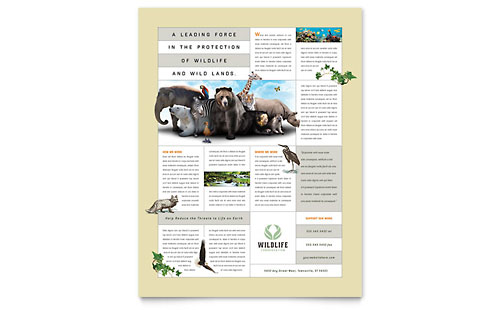 Nature & Wildlife Conservation Flyer Template - Microsoft Office