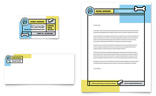 Pet Boarding Business Card & Letterhead Template Design