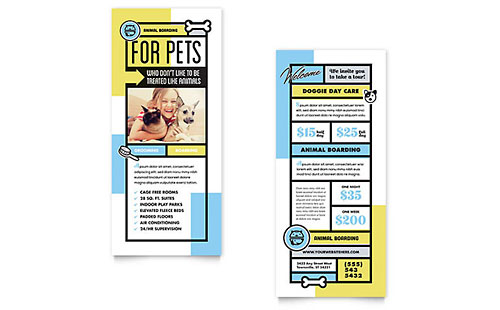 Pet Boarding Rack Card Template Design