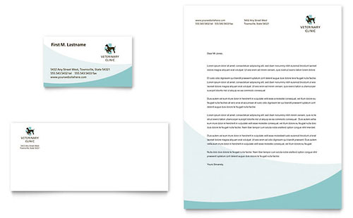 Vet Clinic Business Card & Letterhead Template - Microsoft Office