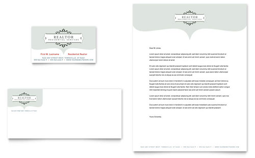 Realtor & Realty Agency Business Card & Letterhead Template - Microsoft Office