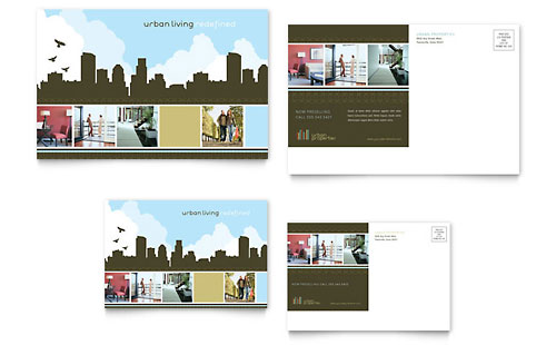 Urban Real Estate Postcard - Microsoft Office Template