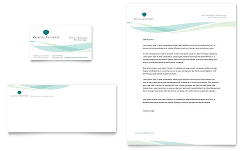 Coastal Real Estate Business Card & Letterhead Template Design