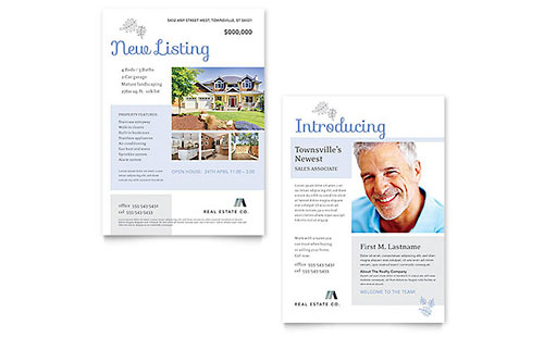 Real Estate Listing - Sample Announcement Template - Word & Publisher