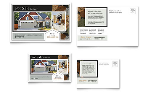 Suburban Real Estate Postcard - Microsoft Office Template