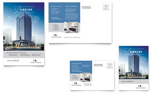 Downtown Apartment Postcard - Microsoft Office Template