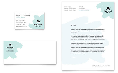 Apartment Business Card & Letterhead Template - Microsoft Office