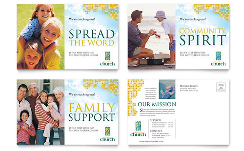 Christian Church Postcard - Microsoft Office Template