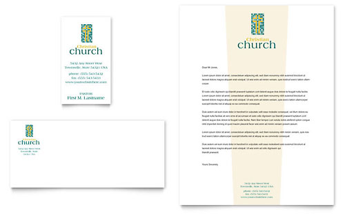 Christian Church Business Card & Letterhead Template - Microsoft Office