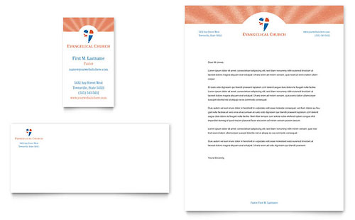 Evangelical Church Business Card & Letterhead Template - Microsoft Office