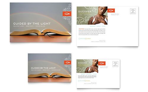 Christian Church Religious Postcard - Microsoft Office Template
