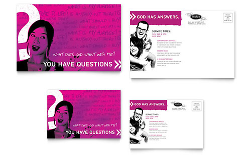 Church Outreach Ministries Postcard Template Design