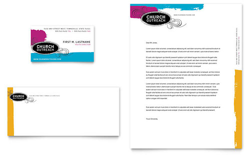Church Outreach Ministries Business Card & Letterhead Template Design