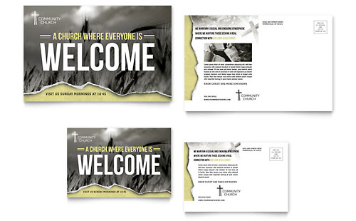 Bible Church Postcard - Microsoft Office Template