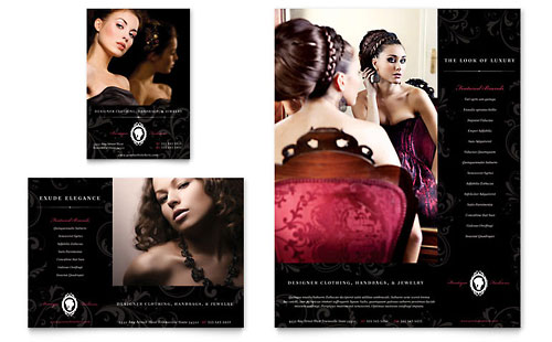 Formal Fashions & Jewelry Boutique Flyer & Ad Template - Microsoft Office