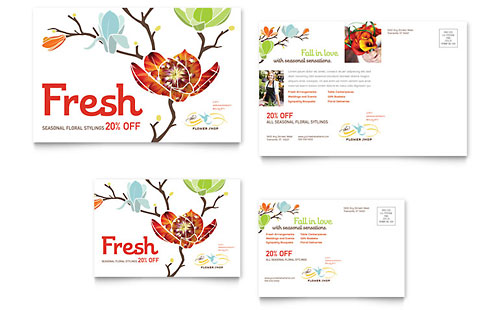 Flower Shop Postcard - Microsoft Office Template
