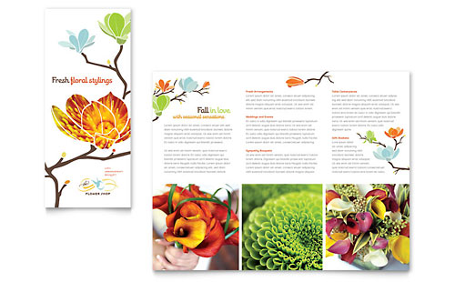 Flower Shop Tri Fold Brochure - Microsoft Office Template
