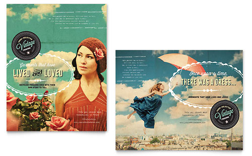 Vintage Clothing Poster Template Design