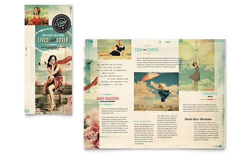Vintage Clothing Tri Fold Brochure Template - Microsoft Office