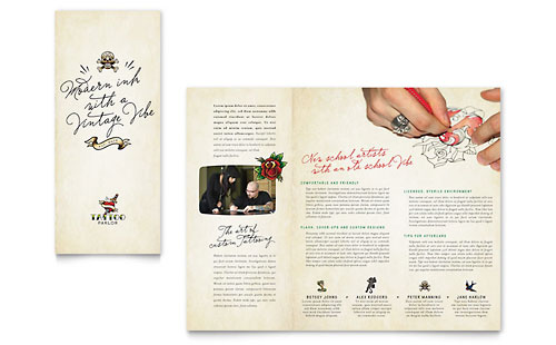 Body Art & Tattoo Artist Brochure - Microsoft Office Template
