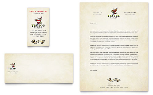 Body Art & Tattoo Artist Business Card & Letterhead Template - Microsoft Office