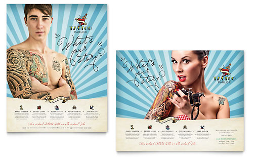 Body Art & Tattoo Artist Poster Template Design