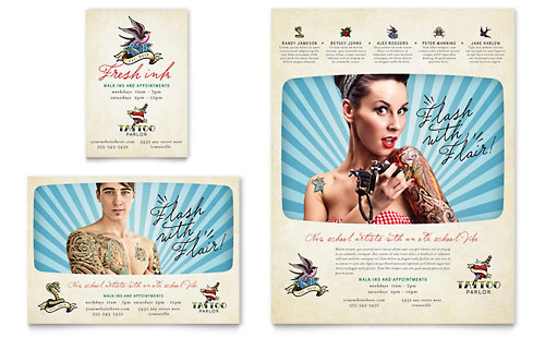 Body Art & Tattoo Artist Flyer & Ad Template - Microsoft Office