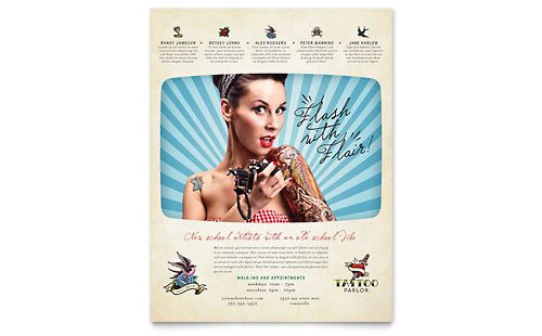 Body Art & Tattoo Artist Flyer Template - Microsoft Office