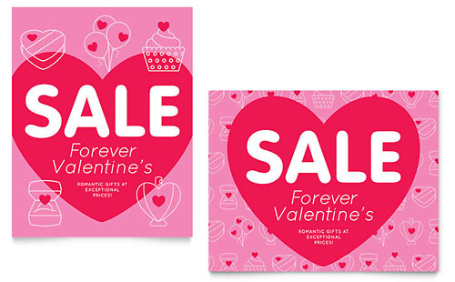 Valentine's Day Sale Poster Template - Microsoft Office