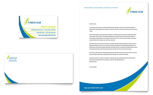 Sports & Health Club Business Card & Letterhead Template - Microsoft Office