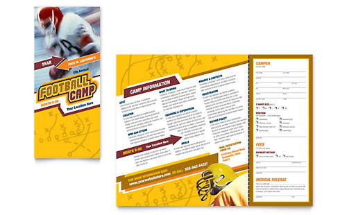 Football Sports Camp Brochure Template - Microsoft Word & Publisher