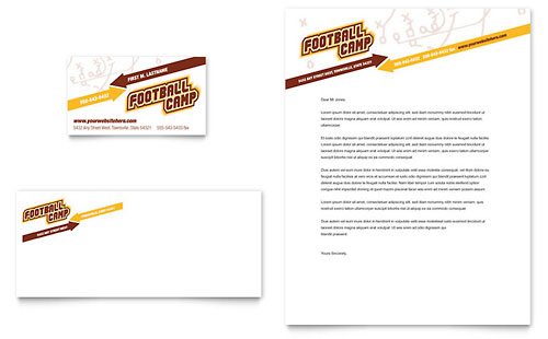 Football Sports Camp Business Card & Letterhead Template - Microsoft Office