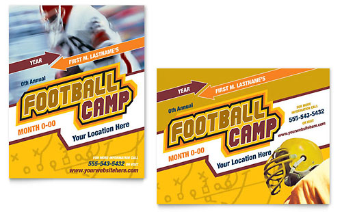 Football Sports Camp Poster Template - Microsoft Office