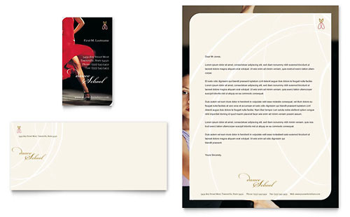 Dance School Business Card & Letterhead Template Design
