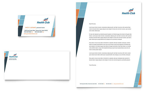 Health & Fitness Gym Business Card & Letterhead Template Design