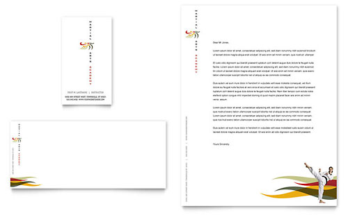 Karate & Martial Arts Business Card & Letterhead Template - Microsoft Office